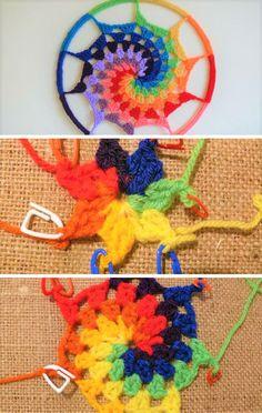 crochet patterns design Crochet Dreamcatchers Patterns How To Crochet A Rainbow Spiral Dream Catcher Part 1 Crochet - Crochet Dreamcatchers Patterns 15 Crochet Dream Catcher Patterns And Tutorials Crochet Dreamcatchers Patterns Tunisian Feathers Free Dreamcatcher Crochet, Crochet Feather, Crochet Diy, Crochet Amigurumi, Crochet Home, Crochet Gifts, Crochet Flowers, Crochet Ideas, Mandala Au Crochet