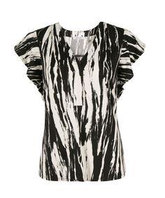 Ruffle Sleeve Henley TopRuffle Sleeve Henley Top, Black/White Print