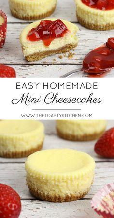 Easy Mini Cheesecakes by The Toasty Kitchen minicheesecake cheesecakerecipes cheesecakerecipeseasy easycheesecake cheesecake strawberrycheesecake dessert dessertfoodrecipes desserts dessertrecipes 108438303514198499 Mini Desserts, Mini Cheesecake Recipes, Homemade Cheesecake, Cake Mix Recipes, Cupcake Recipes, Vegan Cheesecake, Classic Cheesecake, Mini Cheesecake Bites, Cheescake Bites
