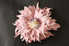 Pink Leather flower brooch Ready $119