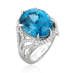 Ice Dragon 18k White Gold Ring ~ Featuring a gorgeous blue zircon of 26.36ct, accented with 1.11ct of ideal cut diamonds by YAEL DESIGNS.