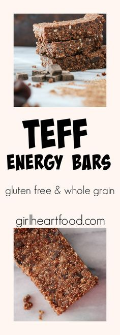 Teff Energy Bars These gluten free and whole grain Teff Energy Bars are LOADED with goodness! There's fibre and iron rich teff, almond flour, walnuts and let's not forget chocolate. The…
