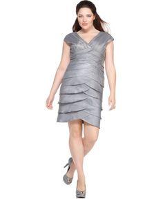 Adrianna Papell Plus Size Dress Cap Sleeve V Neck Tiered Wedding Bridesmaids, Bridesmaid Dresses, Dresser, Cap Dress, Dresses For Work, Formal Dresses, Nylon Stockings, Tiered Dress, Adrianna Papell