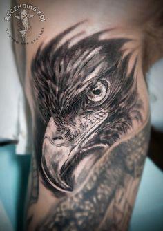 Eagle portrait done by Yvonne Koprnicky #ascendingkoi #calgarytattoos #eagle #realism