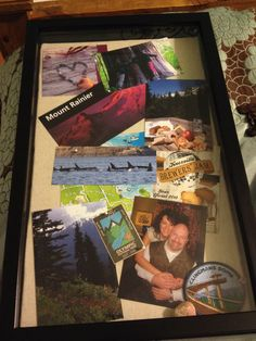 Anniversary gift. Shadow box with vacation memories,  photos, maps, and programs from our last year together. Cost less than $15 took about 4 hours.