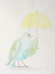 Blaue Taube mit Schirm. 24x32 cm, Aquarell auf Bütten 200g