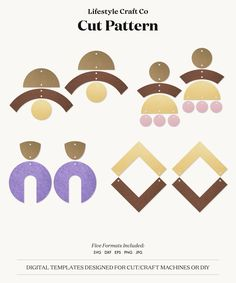 Bow Template, Shape Templates, Felt Bows, Polymer Clay Projects, How To Make Bows, Polymer Clay Earrings, Craft Patterns, Svg Cuts, Leather Jewelry