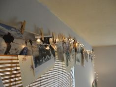 picture collage made with clothespins and twine