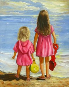 Little Beachcombers Painting by Joni McPherson - Little Beachcombers Fine Art Prints and Posters for Sale