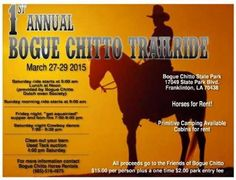 """UPCOMING TRAIL RIDES IN MISSISSIPPI & LOUISIANA See flyers in photo album for more info. For more information you can call the numbers on the flyers, or go to the Facebook Group """" Southern Trail Rides"""" where you will find these and many more upcoming rides and equine events. This list of rides for 2015 was last updated 3/10/15 @ 8pm MARCH Mar 28th Flat Branch Hunting Club Perkinston, MS Mar 27th-29th Bogue Chitto State Park, Franklinton, LA (Bogue Chitto has a FB page) APRIL April 3rd, 4th…"""