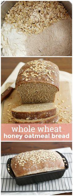 Whole Wheat Honey Oatmeal Bread -- so soft, so flavorful, so wholesome, you'll… Honey Oat Bread, Oatmeal Bread, Oatmeal Yogurt, Oatmeal Pancakes, Baked Oatmeal, Wheat Bread Recipe, Sandwich Bread Recipes, Whole Wheat Bread, Bread Rolls