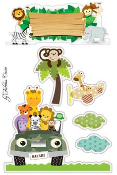 Safari Jungle, Jungle Party, Safari Party, Safari Theme, Jungle Animals, Baby Animals, Scrapbook Bebe, Safari Cakes, Jungle Theme Cakes