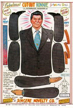 Free printable Ronald Reagan paper puppet doll Cut-Out Ronnie, 1981