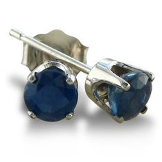4mm Round Sapphire Stud Earrings crafted in Sterling Silver .50ct tgw