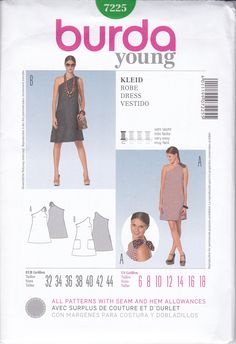 Free Us Ship Burda  Young 7225 Sewing Pattern One Shoulder Goddess Dress Mod Size 6 8 10 12 14 16 18 Bust 30.5 31 32.5 34 36 38 40 New by LanetzLiving on Etsy