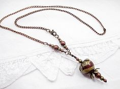 Metallic Bead Necklace Handmade Beaded Jewelry by LittleBitsOFaith, $27.00