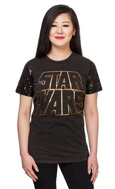 Internet das Coisas!!!: Star Wars Sequin Sleeve Ladies' T-Shirt - Black