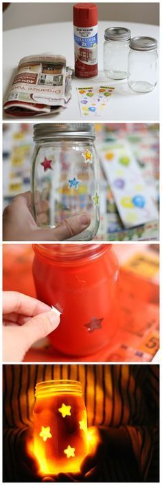 DIY: Fourth of July Star Jars Put any shapes on and use an electric tea light candle...
