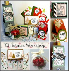 Handmade Christmas gifts using Close to My Heart Beary Christmas and Close to My Heart Silver & Gold paper packs. Workshop kits and guides are available.