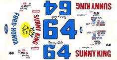 64 Tommy Gale Sunny King Ford 1 43rd Scale Slot Car Waterslide Decals ...