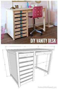 Diy Vanity Desk Free Plans Wood Making Crafts In 2019 Pinterest