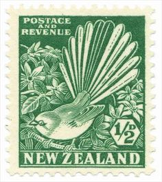 New Zealand, penny. This stamp depicts the fantail (or 'piwakawaka' in Maori) bird. The bird's name derives from its beautiful tail of twelve feathers, which broadly expands as the bird flits about. Postage Stamp Design, Nz Art, Maori Art, Kiwiana, Vintage Stamps, Vanuatu, Stamp Collecting, My Stamp, Bird Art