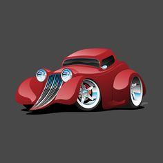 Shop Red Hot Rod Restomod Custom Coupe hot rod t-shirts designed by hobrath as well as other hot rod merchandise at TeePublic. Classic Chevy Trucks, Classic Cars, Cool Car Drawings, Truck Art, Garage Art, Car Painting, Hot Cars, Cartoon Art, Car Pictures