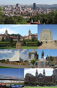 Montage of Pretoria - From the top, left corner clockwise:Pretoria CBD skyline… Pretoria, Nelson Mandela, Kruger National Park, National Parks, Monuments, Market Hall, Places To Travel, Places To See, Apartheid Museum
