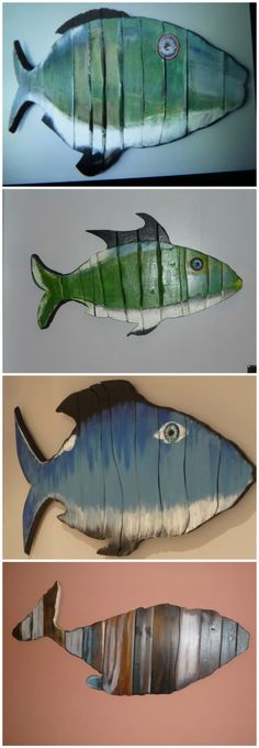 Wall Art Pallet Wood Fish: Not tasty to eat, but DEFINITELY eye-candy! These…