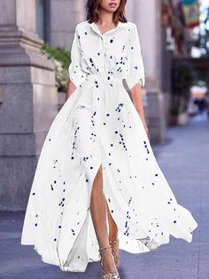 1ce58228ea6b2 Turn Down Collar Printed Maxi Dress – Myladystar White Maxi Dresses, Maxi  Dress With Sleeves