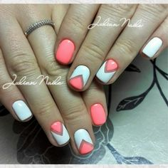 Everyday nails, Geometric nails, Spring summer nails, Summer nails 2016, Summer nails ideas, Triangle nails, Two-color nails, Two-color…