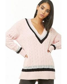 283e7120b479e5 Forever 21 - Pink Plunging Striped Chenille Sweater - Lyst Metallic Yarn,  Cable Knit Sweaters