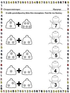 Numeri Kindergarten Math Worksheets, Preschool Learning Activities, Worksheets For Kids, Winter Activities, Preschool Activities, Teaching Kids, Addition Worksheets, Christmas Worksheets, English Lessons For Kids