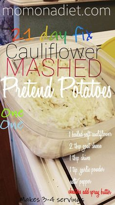 21 Day fix #21dayfix approved healthy recipe for mashed cauliflower pretend mashed potatoes recipe!