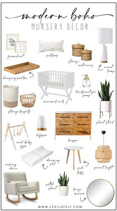 Modern Boho Nursery A little bit modern and a little bit boho! These items are perfect for creating a cozy, welcoming gender neutral nursery! Nursery Modern, Boho Nursery, Baby Nursery Decor, Baby Bedroom, Baby Boy Rooms, Baby Decor, Ikea Nursery, Minimalist Nursery, Floral Nursery