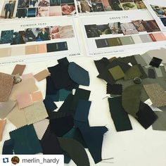 Our design team's fresh colour pallette for a London hotel #designeruniform #fashion #design #uniform #colourpallette #colour #bespoke #tailoring #luxury #hotel #hospitality #london #greens