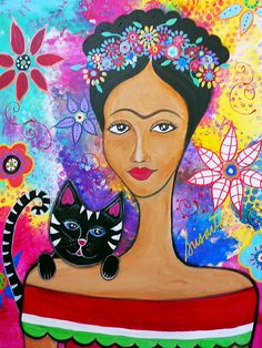 FRIDA AND HER CAT, Original Painting for sale by Prisarts