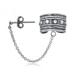 Amazon.com: Bling Jewelry Tribal Beaded Bali Style 925 Silver Ear Cuff with Chain One Piece: Jewelry