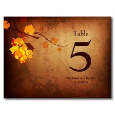 Fall leaves vintage distress wedding table number postcards