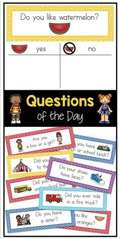 Question of the Day for Preschool, Pre-K and Kindergarten: Sign-in Sheets 100 questions of the day- students sign their name under their answer – perfect for attendance or graphing in preschool, kindergarten or first grade! Preschool Learning, Kindergarten Classroom, Preschool Activities, Teaching, Preschool Sign In Ideas, Preschool Room Decor, Classroom Ideas, Prek Literacy, Kindergarten Lessons