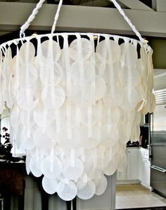 DIY chandelier - wax paper capiz shells!