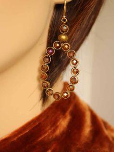 Gold crystal hoop antique brass earrings by EstelleLukoffDesigns