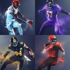 Colors carry a strong sensory effect that becomes predominant on the field as well. The color of the sports uniform can even play a starring role in whether the team ultimately bags the trophy or not! Nfl Color Rush Uniforms, Color Rush Nfl, Football Uniforms, Sports Uniforms, Football Jerseys, Football Design, Football Art, Football Things, Sport Football