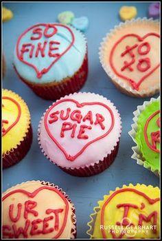 Valentine Conversation Heart Cupcakes