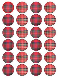"""X24 1.5"""" Tartan Print Pattern Cup Cake Toppers Decorations on Edible Rice Paper by Fun Photo Cakes, http://www.amazon.co.uk/dp/B00C5W3M3I/ref=cm_sw_r_pi_dp_kCvAsb03Q917F/275-4907041-9104115"""