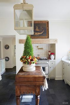 Kitchen : French Country : Wooden Butcher Block : Lantern : Blue Stone Tiles : Slate Flooring : Wood Beam : Vintage Style : Home for the Holidays World Market Furniture, Mark Sikes, Homemade Xmas Decorations, Interior Window Shutters, Decoration For Ganpati, Bright Homes, Beautiful Living Rooms, House Made, Holiday Traditions
