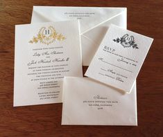 Elegant formal wedding invitation set in letterpress with vintage wreath monogram.  | Invitations by Ajalon | invitationsbyajalon.com