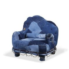 Recycled Jeans to the Extreme!!!Wonder how many pairs it took to cover the chair (and why)?