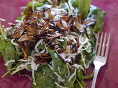 Honey Bee's Food and Wine: Baby Kale Maitake Mushroom Salad