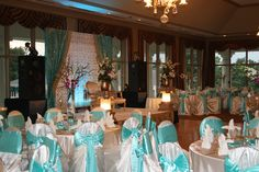 Indian Wedding Reception with Light Blue Accents in the Ballroom at Sugar Creek Country Club. #Wedding #IndianWedding